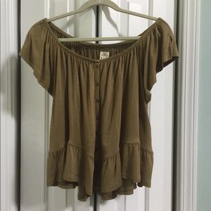 O'Neill Olive Green  off the shoulder blouse.